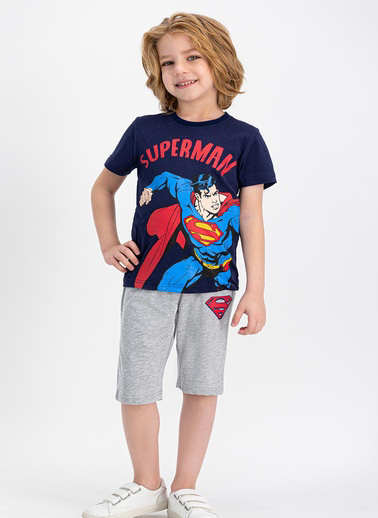 Superman  Lisanslı Lacivert Erkek Çocuk Kapri Takım Lacivert